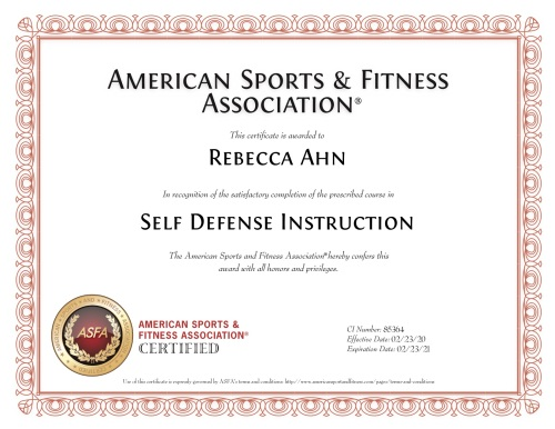 Self Defense Instruction certificate - American Sports & Fitness Association